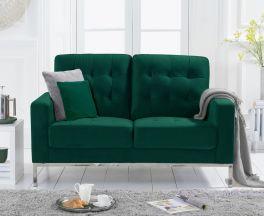 Lillian Green Velvet 2 Seater Sofa