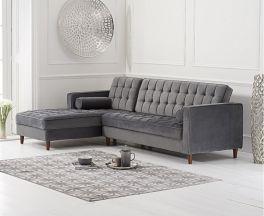 Anneliese Grey Velvet Left Facing Chaise Sofa