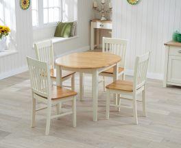Alaska Solid Hardwood & Painted Dining Table (Oak & Cream)
