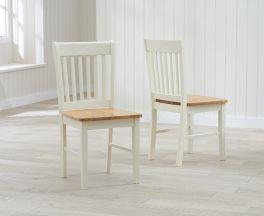 Alaska Solid Hardwood & Painted Dining Chairs (Pairs) - Oak & Cream