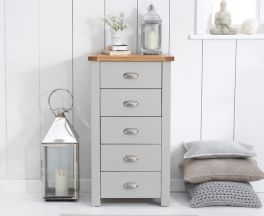 Sandringham Oak And Grey Tall 5 Drawer Chest