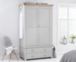 Sandringham Oak And Grey Gents 2 Drawer Wardrobe