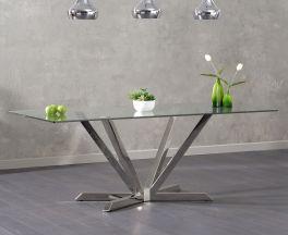 Rene 200cm Rectangular Glass Dining Table