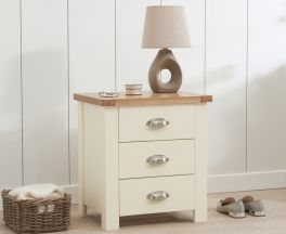 Sandringham Oak And Cream 3 Drawer Nightstand