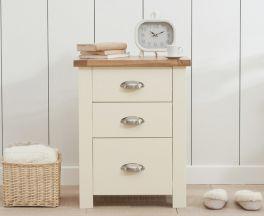 Sandringham Oak And Cream Tall 3 Drawer Nightstand