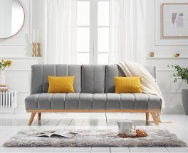 Saffron Grey Velvet 3 Seater Fold Down Sofa Bed