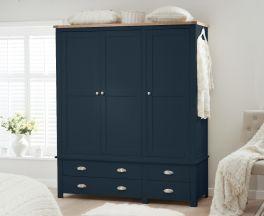 Sandringham Oak and Blue 3 Door 4 Drawer Wardrobe