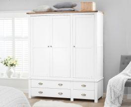 Sandringham Oak and White 3 Door 4 Drawer Wardrobe