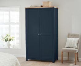 Sandringham Oak and Blue Two Door Wardrobe