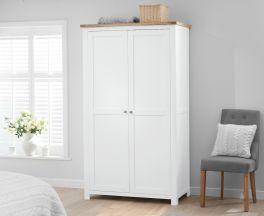 Sandringham  Oak and White Two Door Wardrobe