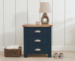 Sandringham Oak and Blue 3 Drawer Bedside Table