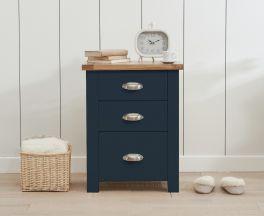 Sandringham Oak and Blue Tall 3 Drawer Bedside Table