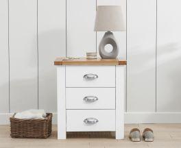 Sandringham Oak and White 3 Drawer Bedside Table