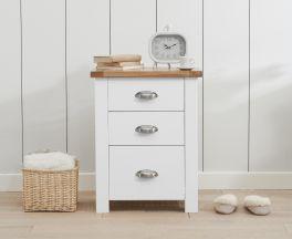 Sandringham Oak and White Tall 3 Drawer Bedside Table