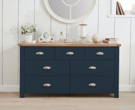 Sandringham Oak and Blue 3 Over 4 Drawer Chest