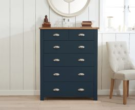 Sandringham Oak and Blue 2 Over 4 Drawer Chest
