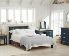 Sandringham Oak and Blue King Size Bed