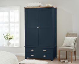 Sandringham Oak and Blue Two Door Two Drawer Wardrobe