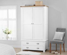 Sandringham Oak and White Two Door Two Drawer Wardrobe