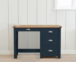 Sandringham Oak And Blue Single Pedestal Dressing Table