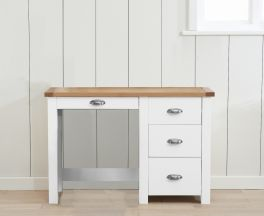 Sandringham Oak And White Single Pedestal Dressing Table