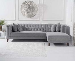Tino Grey Linen Right Facing Chaise Sofa