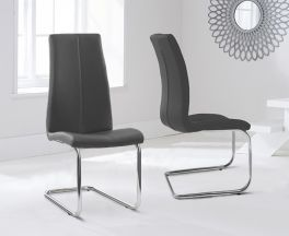 Tonia Hooped Leg Pu Grey Dining Chairs (Pair)