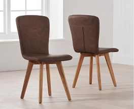 Tribeca Brown Faux Leather Chairs (Pairs)