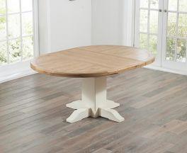Turin 125cm Oak & Cream Extending Dining Table
