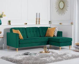 West Ridge Green Velvet Reversible Chaise Sofa