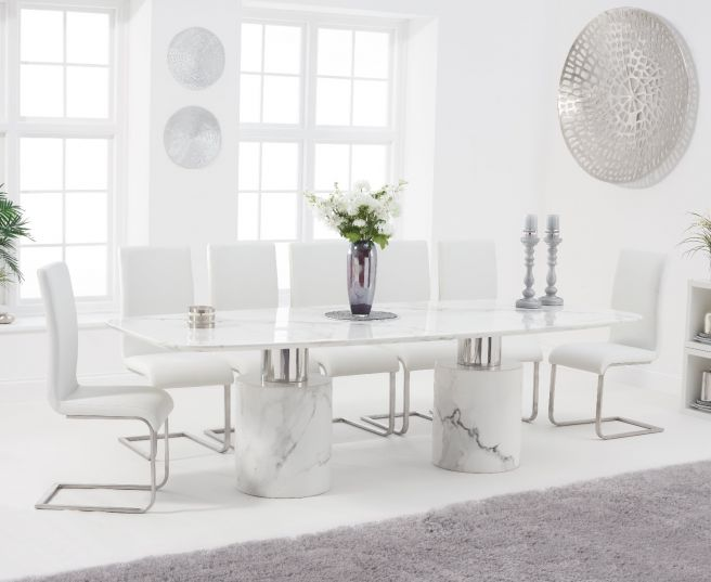 Adeline 260cm White Marble Dining Table