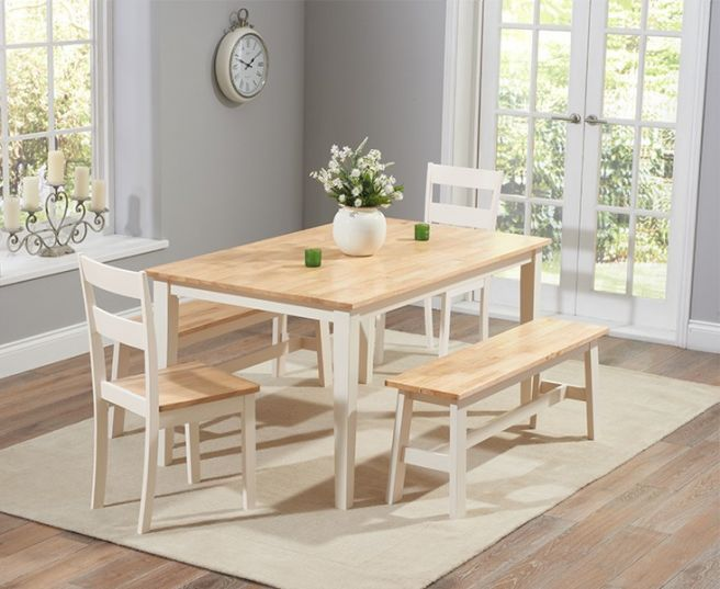 Chichester 150cm Oak Cream Dt 4 Chairs 1 Large Bench