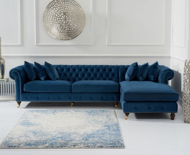 Fiona Blue Velvet Right Facing Chesterfield Chaise Sofa