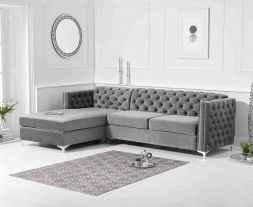 Maxim Left Facing Grey Velvet Chaise Sofa
