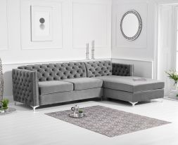 Maxim Right Facing Grey Velvet Chaise Sofa