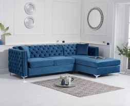 Maxim Right Facing Blue Velvet Chaise Sofa