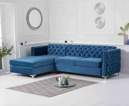 Maxim Left Facing Blue Velvet Chaise Sofa