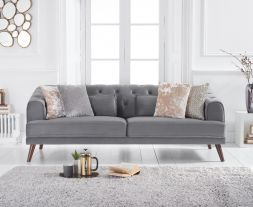 Destiny Grey Velvet 3 Seater Sofa