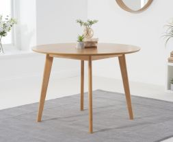 Seth Oak 110cm Round Dining Table