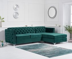 Maxim Right Facing Green Velvet Chaise Sofa