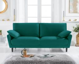 Caracus Green Velvet 3 Seater Sofa