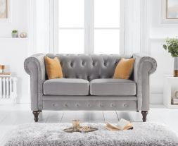 Cardiff Grey Velvet 2 Seater Sofa