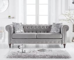 Cardiff Grey Velvet 3 Seater Sofa