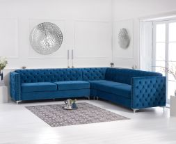 Maxim Blue Velvet Corner Sofa
