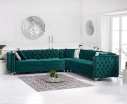 Maxim Green Velvet Corner Sofa