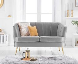 Lucena Grey Velvet 2 Seater Sofa