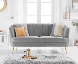 Lucena Grey Velvet 3 Seater Sofa