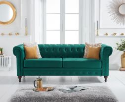 Cardiff Green Velvet 3 Seater Sofa