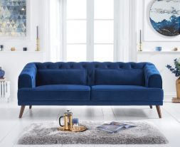 Destiny Blue Velvet 3 Seater Sofa