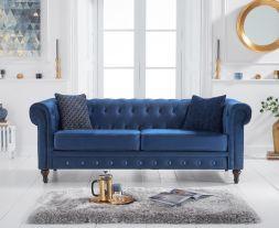 Cardiff Blue Velvet 3 Seater Sofa